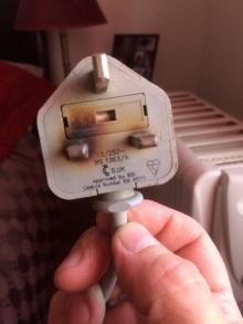 Damaged electrical plug